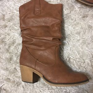Faux leather cowboy style heeled boots